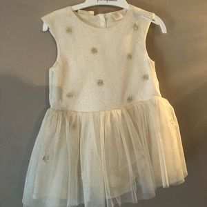 First Impressions gold & white dress NWT size 18M